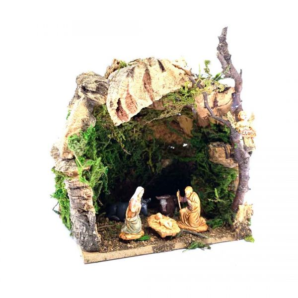 Capanna grotta per natività e statuine per presepe cm 3,5.